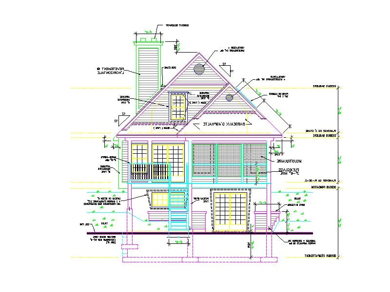 Front Elevation Autocad 2d : Dwg house elevation joy studio design gallery best